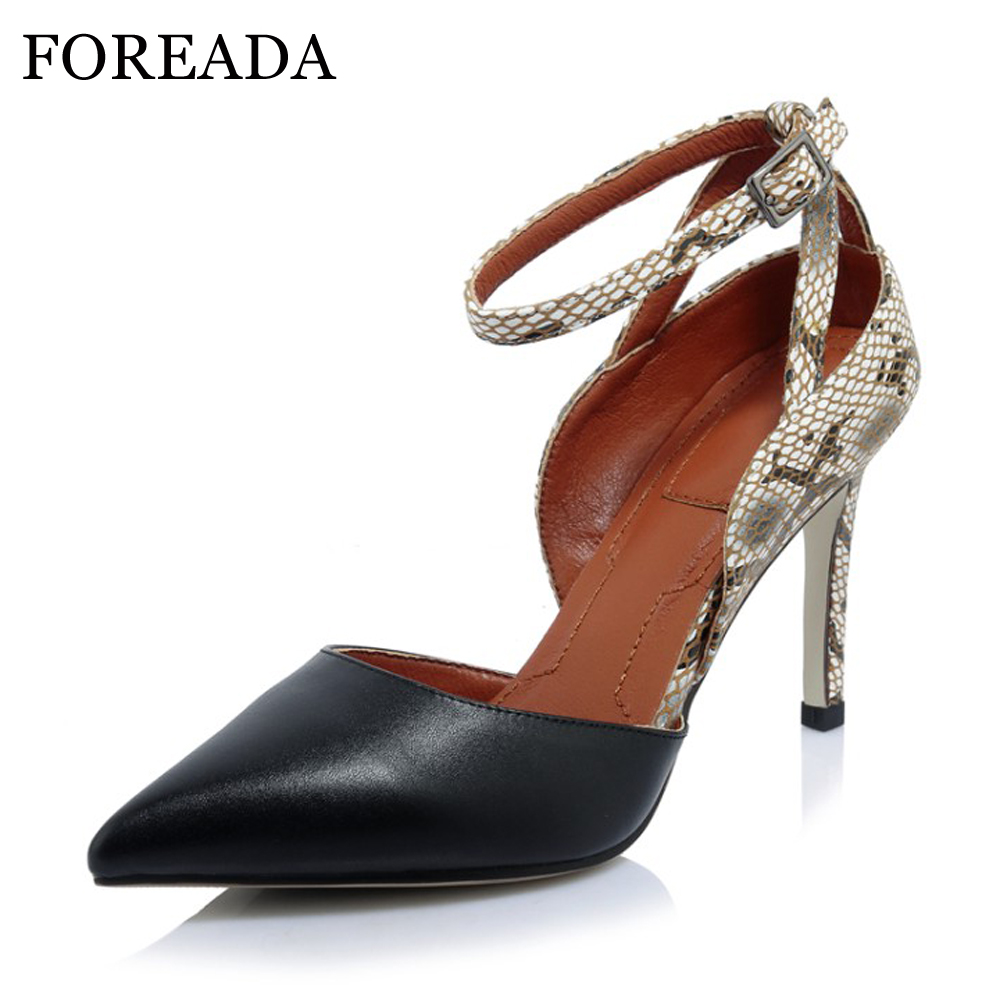 FOREADA Genuine Leather High Heels Shoes Women Pumps Ankle Strap High Heels Leopard Pointed Toe Two Piece Grace Office Shoes foreada ballet flats shoes genuine leather women 2018 shoes ankle strap buckle flat black pointed toe casual shoes ladies spring