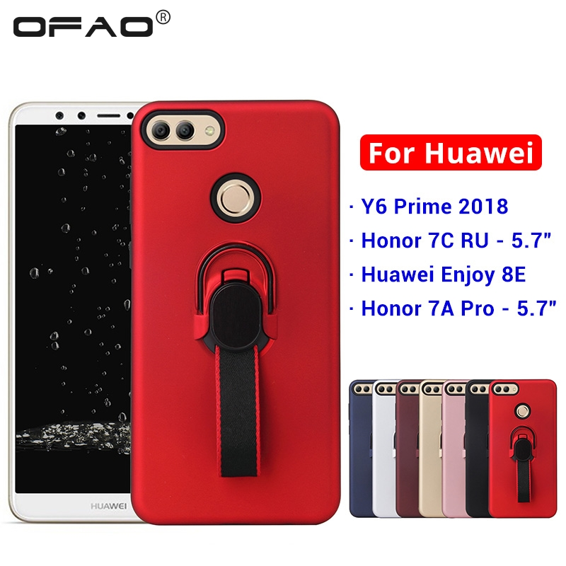 For Huawei Y6 Prime 2018 <font><b>Honor</b></font> <font><b>7A</b></font> Pro 7C RU AUM-L41 <font><b>5.7</b></font> <font><b>Silicon</b></font> TPU Ring Ribbon Hoder Car Magneitc <font><b>Cases</b></font> Cover Fundas Capa Coque image