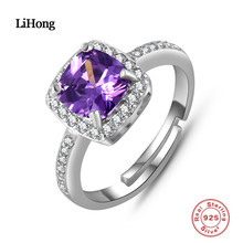 2017 Luxury Brand Solid 925 Sterling Silver Wedding Anniversary Engagement Ring for Women Vintage Style Princess colorfish vintage 1 carat princess cut women ring set 925 solid sterling silver sparkling sona halo engagement wedding ring set