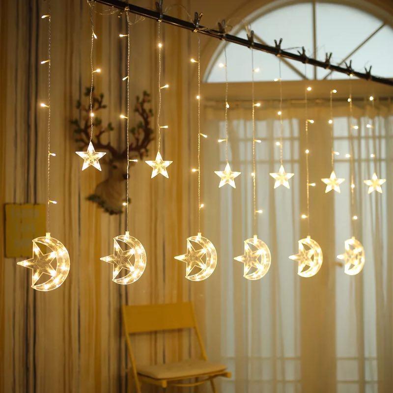 Junjue led lanterna piscando luzes estrelas pentagrama luzes da lua luzes cortina luzes decorativas barra de gelo para decoração casa