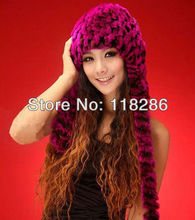 Real REX rabbit fur trapper hat ear muff ear warmer scarf cap soft and fashionable 7 colors shipping free