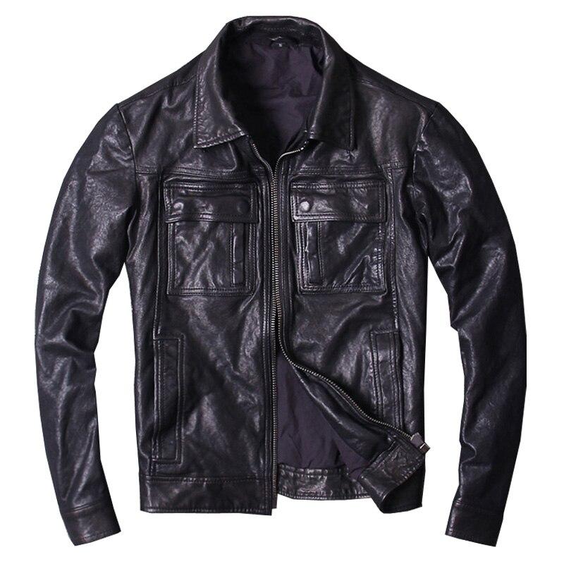 Harley Zwetschge Schwarz Männer Herbst Casual Leder Jacke Plus Größe Xxxl Echtem Dünne Schaffell Slim Fit Kurze Mode Leder Mantel SchnäPpchenverkauf Zum Jahresende