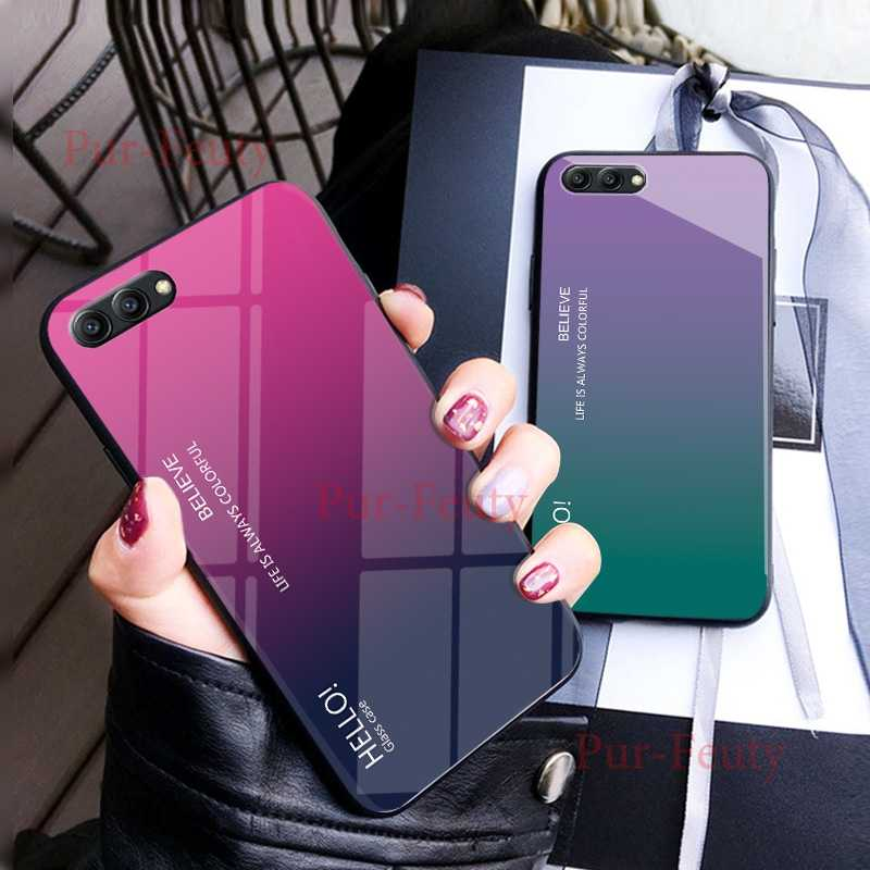 Case Voor huawei honor View 10 BKL L09 Fashion Hard Gehard Glas Luxe Gradient Beschermende Back Cover Voor huawei honor v10 v9
