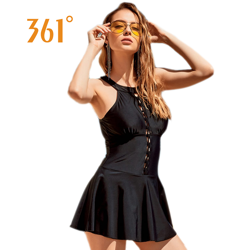 361 Women Skirt Swim Suit Female Swimsuit Dress High Neck Wire free Swimwear M-XXL Hollow Out Bathing Suits Padded Swimming Suit