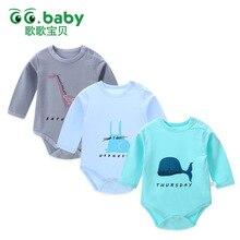3pcs / lot Baby langærmet Nyfødt spædbarn Bodysuit Baby Boy Body Girls Body Tøj til Boy Baby Body For Newborns Clothing