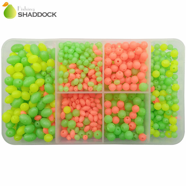 1000pcs Round Oval Mixed Size Luminous Fishing Beads Orange Yellow Green Floating Plastic Fishing Beads Fishing Tackle Box