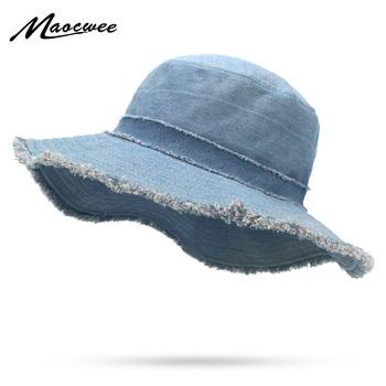 Kobiet Denim wiadro kapelusz mężczyzna koreański styl na co dzień w stylu Cowboy czapki wędkarskie modne wiosna lato fajne dżinsy pomponem kapelusze przeciwsłoneczne tanie i dobre opinie Wiadro kapelusze Poliester WOMEN MAOCWEE YF009 Stałe Dla dorosłych Mieszkanie Fisherman Hat bucket hat Winter Spring Summer Autumn style