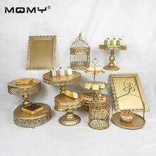11 Pcs Wedding Cupcake Gold Metal 3 Tier Crystal Birdcage Cake Stand Set