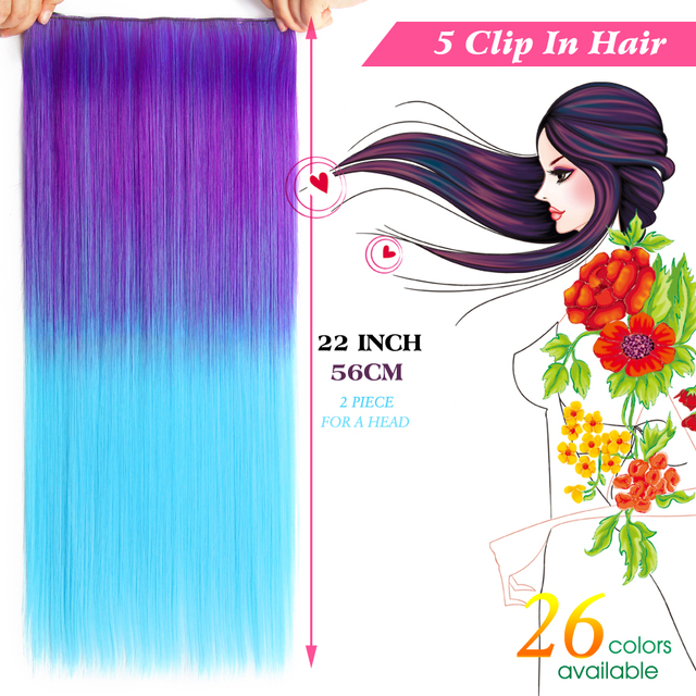 Long Straight Gradient Color Synthetic Hair Extensions