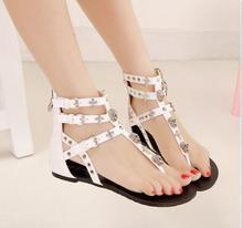2016 New Cross Skull Flat Sandals Women Summer Shoes Roman Style Fashion Sandals Shoes Woman Flat Sandals Flip