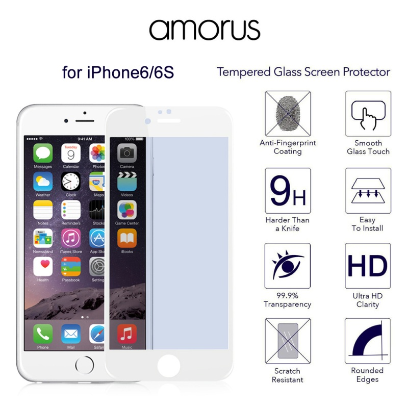AMORUS for iPhone 6s 6 3D Plating Anti blue ray Tempered Glass Screen Guard Full Cover