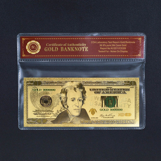 collection colored usa gold banknote 20 dollar bill with plastic card with coa plastic frame - Dollar Bill Frame