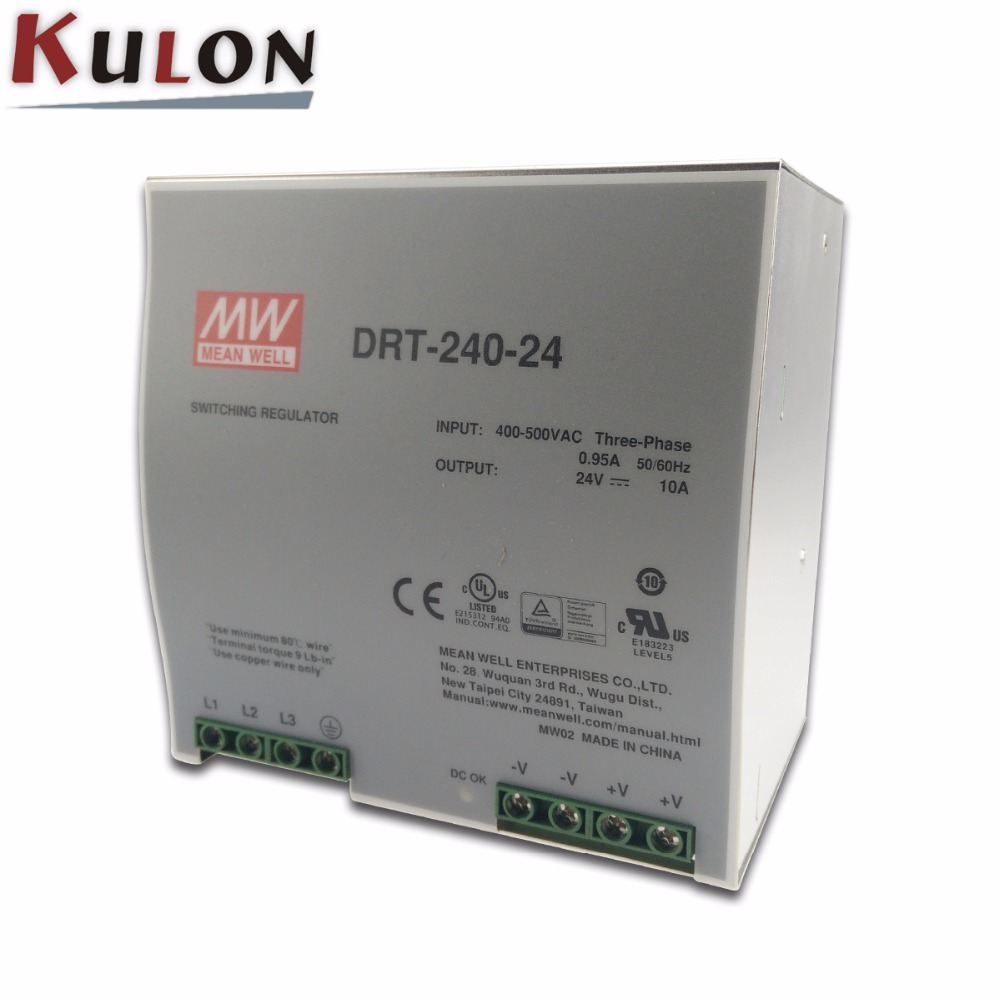 Original Meanwell DRT-240-24 240W 10A 24V mean well three phase Industrial DIN Rail Power Supply mean well original drt 960 24 24v 40a meanwell drt 960 24v 960w single output industrial din rail power supply