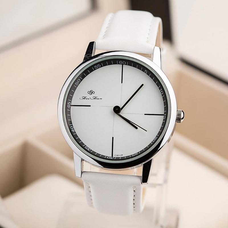 Unisex Simple Leather Strap Casual Men Women Watch Analog Wristwatches Gift Reloj Mujer