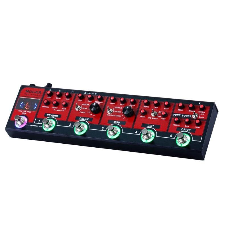 MOOER Rouge Camion Pédale D'effet Modulation Retard Réverbération Distorsion Overdrive Boost Modules Intégré Tuner Tap Tempo