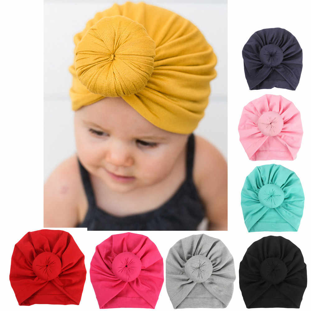 HOT Baby Turban Toddler Kids Boy Girl India Hat Lovely Soft Cotton Cap Candy Solid newborn photography props Spring Child Beanie
