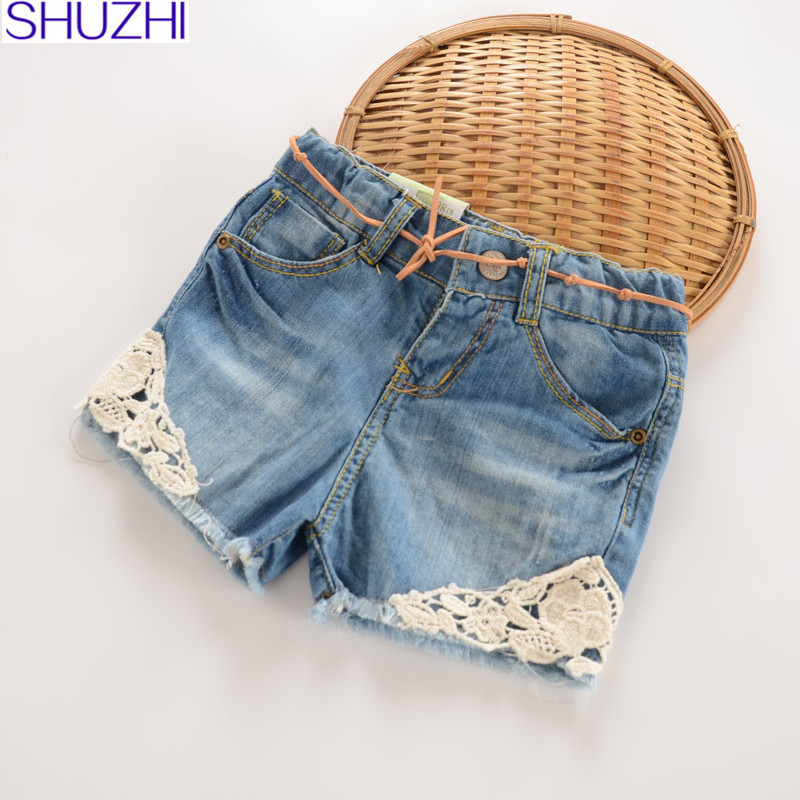 SHUZHI Summer Style Baby   Shorts   girl Lace Floral jeans   Shorts   for girl Kids denim Panties girls   shorts   2T-10T