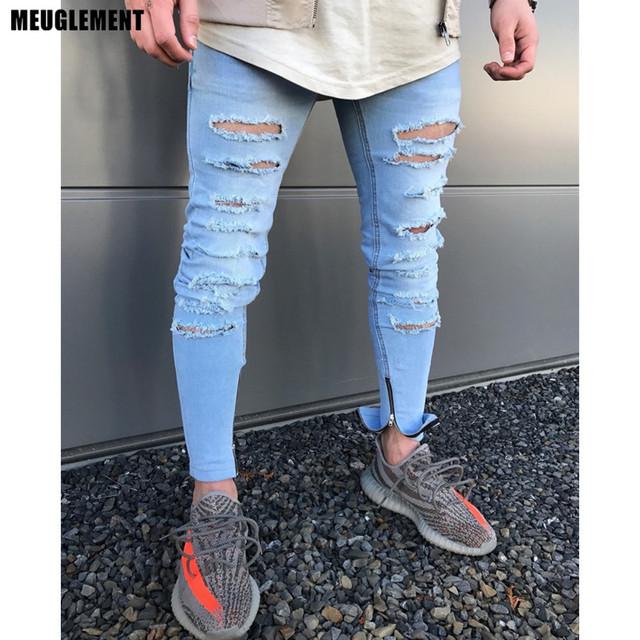 Men Clothes 2018 Hip Hop Sweatpants Skinny Motorcycle Denim Pants Zipper Designer Black Jeans Mens Casual Men Jeans Trousers