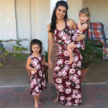Mother Daughter Dresses Family Matching Dress Mommy and Me Floral Maxi Outfits Look Summer