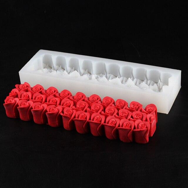 Moule à savon en Silicone gaufré, fleur de Rose, moule de décoration rectangulaire