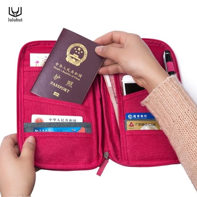 Luluhut sac de rangement pour passeport sac fonctionnel de voyage porte-passeport portable organisateur de documents carte de crédit portefeuille de cartes d'identité