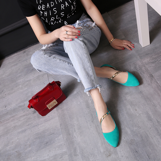 New Fashion Women Flats Popular Pointed Toe Concise Flats Comfortable Black Beige Pink Blue Shoes Woman US Size 4-14