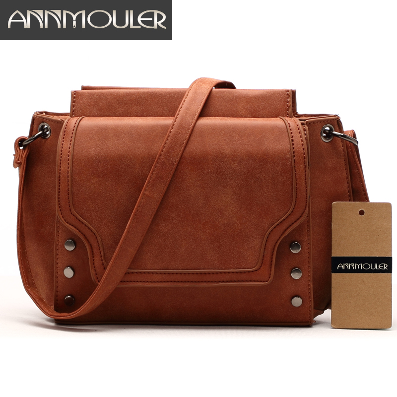 Annmouler Brand New Women Bags Pu Leather Designer Shoulder Bag Casual Crossbody Messenger Bag for Ladies Solid Color Handbags 2017 new brand designer women small messenger bag pu leather solid color shoulder bag fashion vintage girls evening party bag