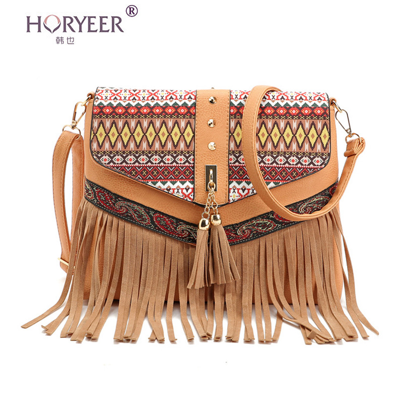 HORYEER women bag 2017 Shoulder Bags Small Crossbody Bag For Women Handbags PU Leather Rivet Tassel Messenger Bag sac a main