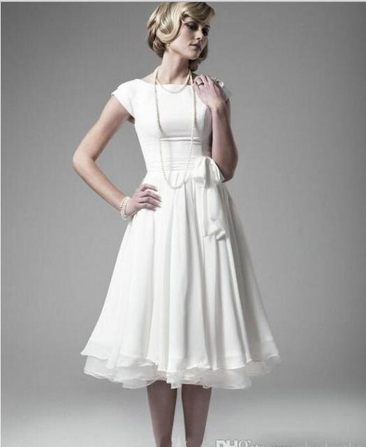 d4d24905062 2017 Sexy Short Sleeves White Chiffon Bridesmaid Dresses Tea Length Ruffles  Little Summer Beach Cheap Wedding Gowns 2016