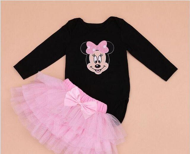 Novos conjuntos de roupas de bebê menina infantil easter romper + tutu dress 2 pcs set preto trajes bebe primeiro aniversário