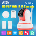 BW P2P 720P HD Wireless IP Camera WiFi Network CCTV Onvif Indoor Portable with Door/Infrared Motion Sensor + Smoke/Gas Detector