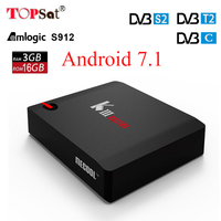 Android 7,1 ТВ коробка MECOOL KIII PRO DVB S2 DVB T2 DVB C 3 ГБ 16 ГБ Amlogic S912 Octa Core 4 К комбо резких перемен температуры Biss ключ PowerVU