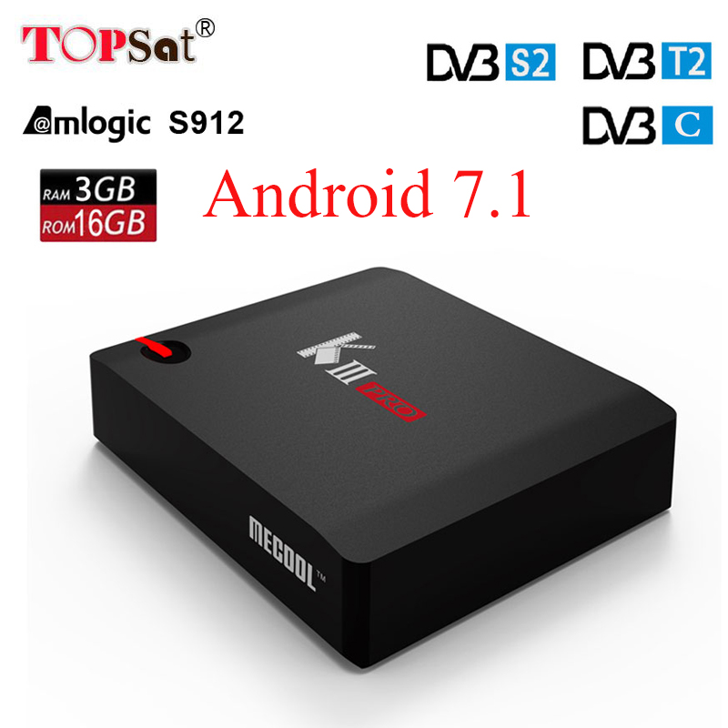 Android 7.1 TV Box MECOOL KIII PRO DVB-S2 DVB-T2 DVB-C 3GB 16GB Amlogic S912 Octa Core 4K Combo Clines Biss key PowerVU