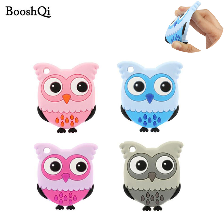 10pcs Safety Food Grade Silicone Teether Cute Animal Teething Pendant Necklace DIY Handmade Baby Chew Toy Silicone Beads Toys