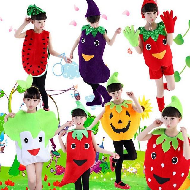 Crianças Dancewear Outfit Meninos Meninas Festival Traje Desempenho Dia das Crianças Dia das Bruxas Dos Desenhos Animados Fruit Vegetal Roupas Cosplay