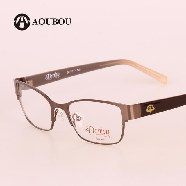AOUBOU Marrom Mulheres Óculos de Computador Óculos Míope Flora Pernas TR90 Armações de Aço Inoxidável High-end Óculos de Alto Grau do Sexo Feminino B019