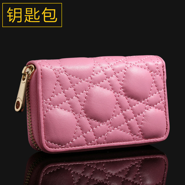 Ouliss Key Bag Cute Zipper Ling Plaid Leather Key Wallet Women The New 2017 Sheepskin Car Key Wallet key holder Small Sweet Wind