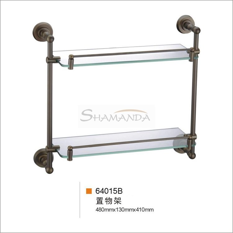 Free shipping-Bathroom Accessories Solid Brass antique brass double glass shelf -wholesale-64015B цена 2017