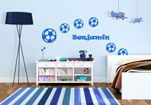 DSU Sports Wall Stickers Football Customized Name Wall Art Boys Bedroom Decals For Kids Rooms Free Shipping(China)