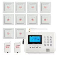 Hospital Room Emergency calling system 433mhz wall mounted PSTN GSM alarm system remote control panic button call center