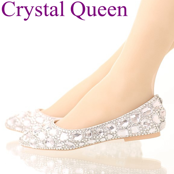 BuonoScarpe Women Pointed Toe Flats Crystal Bling Fashion Silver Shoes Flat Luxury  See Through Party Wedding ... 43c4a9f46b1a
