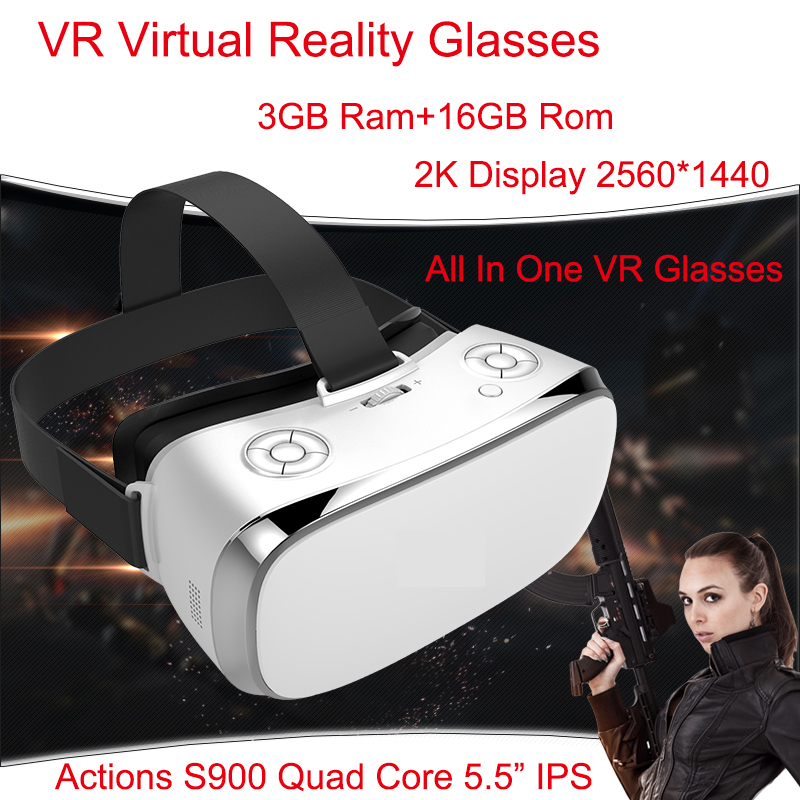 3 GB Ram VR tout en un lunettes lunettes de réalité virtuelle V3H 2 K affichage S900 Quad Core 1.7 GHz 5.5 pouces 16 GB Rom Wifi 3D VR lunettes
