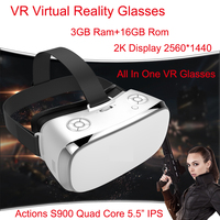 3GB Ram VR All In One Glasses Virtual Reality Glasses V3H 2K Display S900 Quad Core