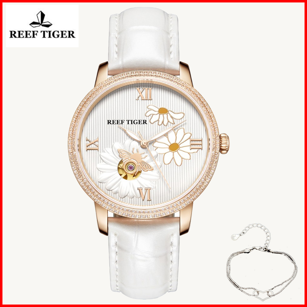 Reef Tiger 2019 New Fashion Women Mechanical Watch Automatic Watches Leather Rose Gold Diamond Watch Relogio Feminino RGA1585Reef Tiger 2019 New Fashion Women Mechanical Watch Automatic Watches Leather Rose Gold Diamond Watch Relogio Feminino RGA1585