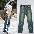 Женская новое прибытие прямые джинсы мода плиссированные вымытые джинсовые прямые брюки джинсовые плюс размер XXL джинсы бесплатная доставка