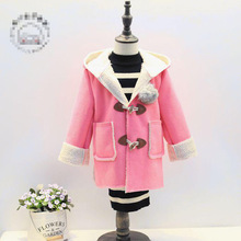 4-8 year blousing thick coat for babys hooded lovely girls warm clothes popluar korean with plush ask warm preety jacket