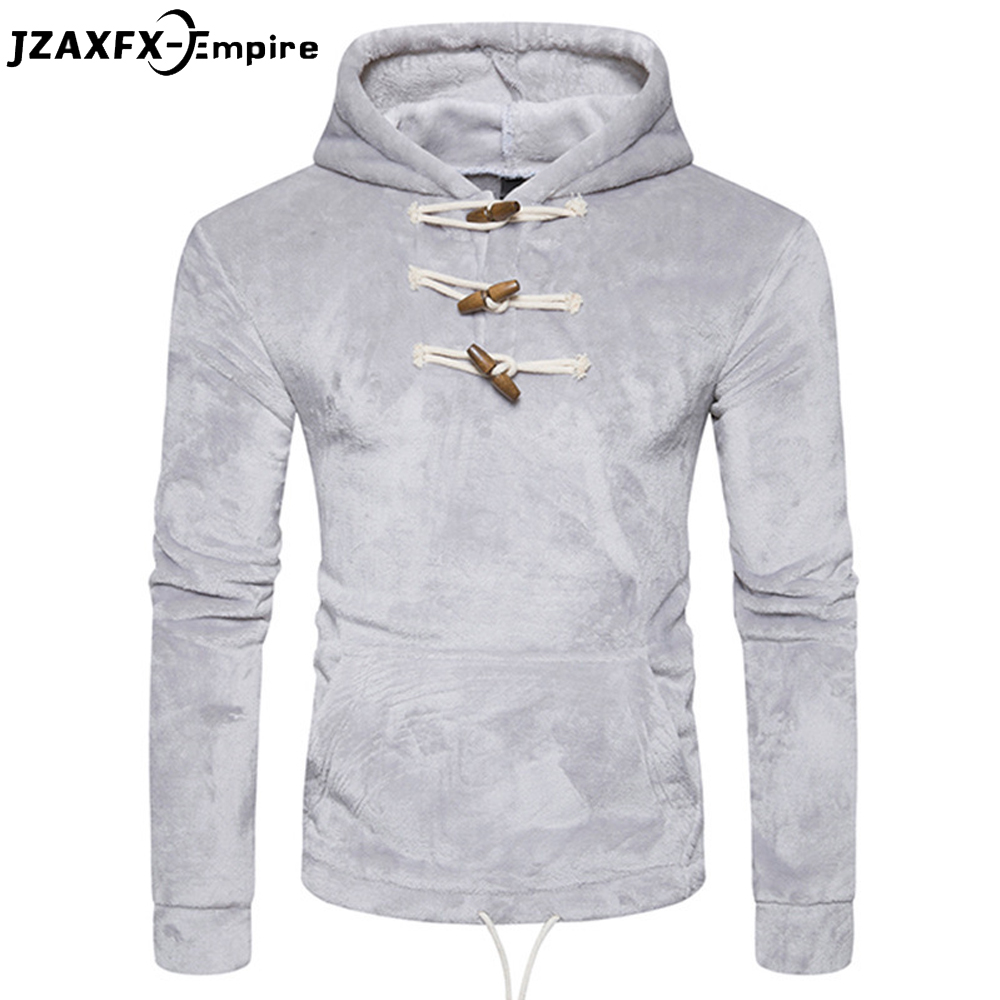 New Arrival Men Solid Color Hoodies Horns Design Coral velvet Mens Casual Sweatshirt Autumn Wear Clothing Hoodies men