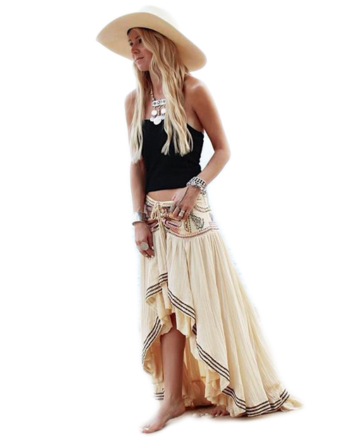 Everkaki Bohemian Cotton Embroidery Women Gypsy Ladies Skirts Lace Up Beach National Long Skirts Female Casual Skirts 2018 (1)