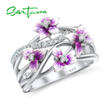 SANTUZZA Silver Rings For Women 925 Sterling Silver Delicate Pink Flower Shiny Cubic Zirconia Ring Party Fashion Jewelry Enamel