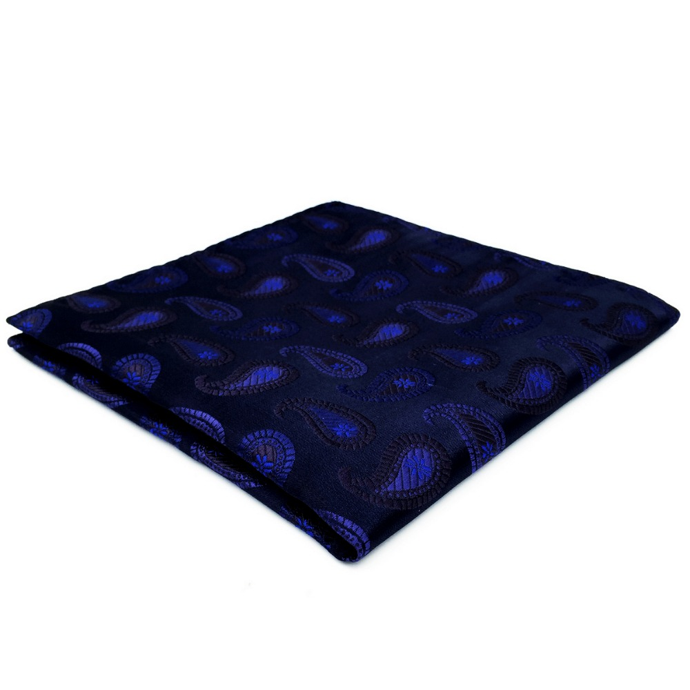 DH14 Navy Blue Paisley Pocket Square For Men Handkerchief Silk Large 12.6